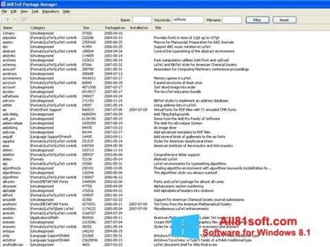 Screenshot MiKTeX Windows 8.1