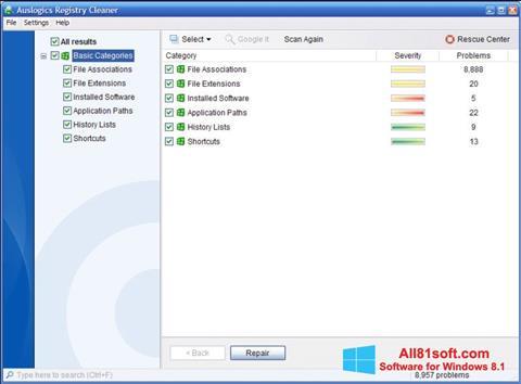 Screenshot Auslogics Registry Cleaner Windows 8.1