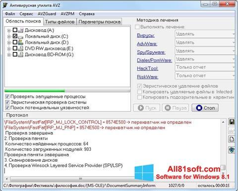 Screenshot AVZ Windows 8.1