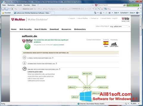 Screenshot McAfee SiteAdvisor Windows 8.1
