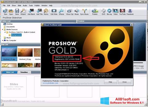 Screenshot ProShow Gold Windows 8.1
