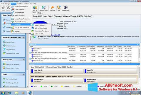 Screenshot Paragon Partition Manager Windows 8.1