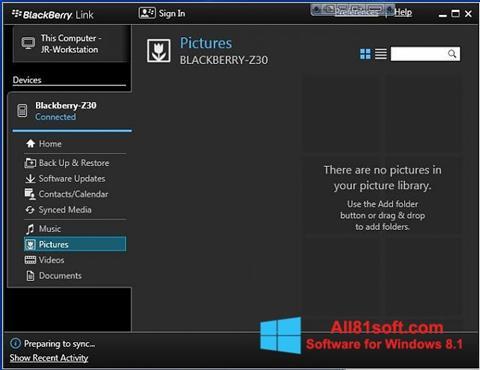 Screenshot BlackBerry Link Windows 8.1