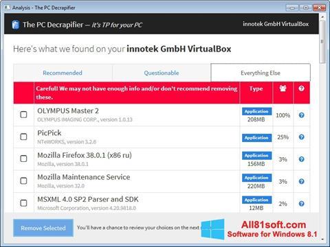 Screenshot PC Decrapifier Windows 8.1