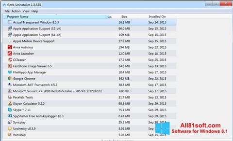 Screenshot Geek Uninstaller Windows 8.1