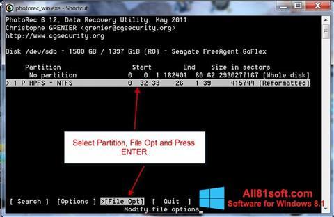 Screenshot PhotoRec Windows 8.1