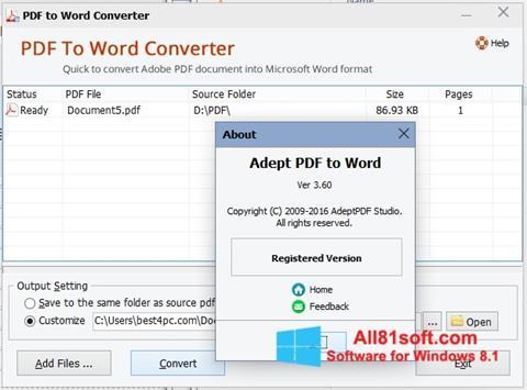 Screenshot PDF to Word Converter Windows 8.1