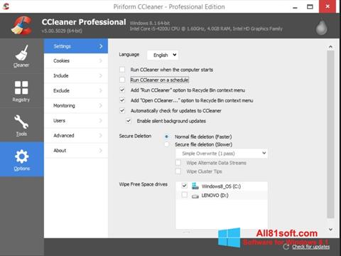 Screenshot CCleaner Windows 8.1