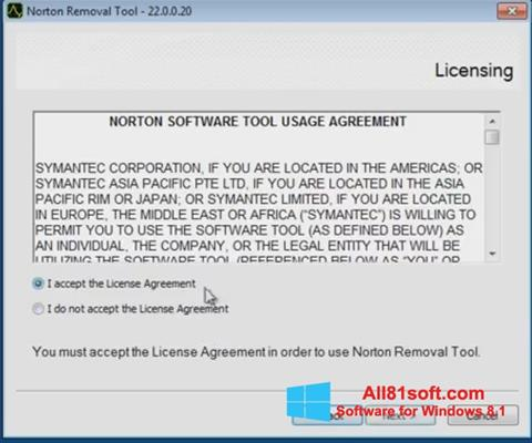 Screenshot Norton Removal Tool Windows 8.1